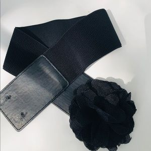 Stretch Belt Black Flower